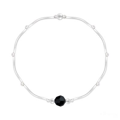 Bracelet en Cristal et Argent Bracelet Torsadé en Argent et Cristal Facetté 6mm Jet (Noir)