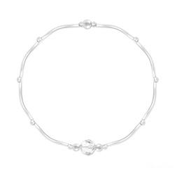 Bracelet Torsadé en Argent et Cristal Facetté 6mm Blanc