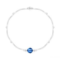 Bracelet Torsadé en Argent et Cristal Facetté 6mm Capri Blue