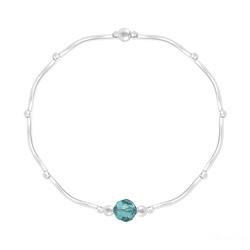 Bracelet Torsadé en Argent et Cristal Facetté 6mm Bleu Zircon