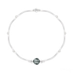 Grossiste Bracelet Torsadé en Argent et Cristal Facetté 6mm Black Diamond
