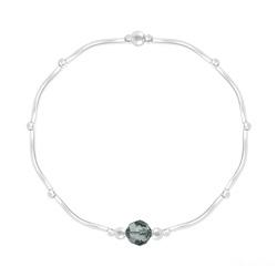 Bracelet Torsadé en Argent et Cristal Facetté 6mm Black Diamond