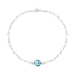 Bracelet Torsadé en Argent et Cristal Facetté 6mm Bleu