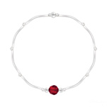 Grossiste Bracelet Torsadé en Argent et Cristal Facetté 6mm Rouge Light Siam