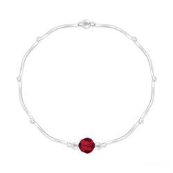 Bracelet Torsadé en Argent et Cristal Facetté 6mm Rouge Light Siam