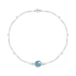 Bracelet Torsadé en Argent et Cristal Facetté 6mm Turquoise