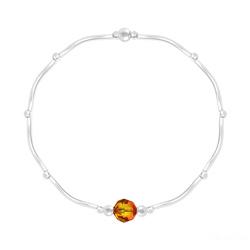 Bracelet Torsadé en Argent et Cristal Facetté 6mm Fire Opal