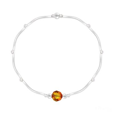 Bracelet en Cristal et Argent Bracelet Torsadé en Argent et Cristal Facetté 6mm Fire Opal