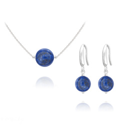 Parure en Argent et Pierres Naturelles 10mm / 8mm - Lapis Lazuli