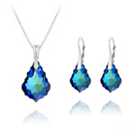 Wholesale Baroque 16mm/22mm Silver Jewelry Set with Swarovski Crystal - Bermuda Blue