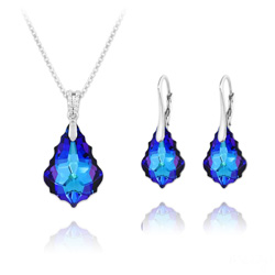 Wholesale Baroque 16mm/22mm Silver Jewelry Set with Swarovski Crystal