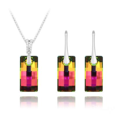 Parure en Cristal et Argent Parure Urban 20mm en Argent et Cristal Vitrail Medium