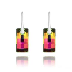 Boucles d'Oreilles Urban en Argent et Cristal Vitrail Medium