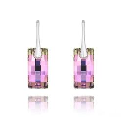 Boucles d'Oreilles Urban en Argent et Cristal Vitrail Light