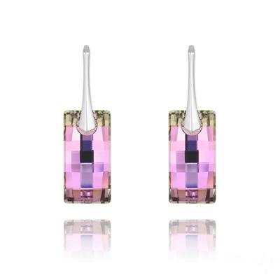 Boucles d'Oreilles en Cristal et Argent Boucles d'Oreilles Urban en Argent et Cristal Vitrail Light