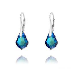 Boucles d'Oreilles Mini Baroque 16mm en Argent et Cristal Bleu Bermude
