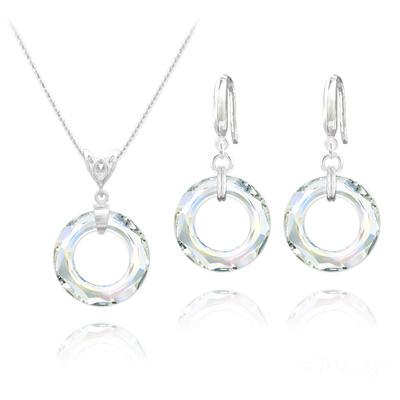 Parure en Cristal et Argent Parure Cosmic Ring 20MM en Argent et Cristal Aurore Boréale