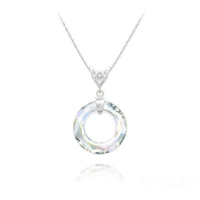 Collier en Cristal et Argent Collier Cosmic Ring 20MM V2 en Argent et Cristal Aurore Boréale