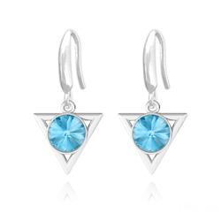 Boucles d'Oreilles Triangle Rivoli 8mm en Argent et Cristal Bleu