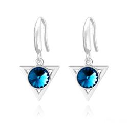 Boucles d'Oreilles Triangle Rivoli 8mm en Argent et Cristal Bleu Bermude
