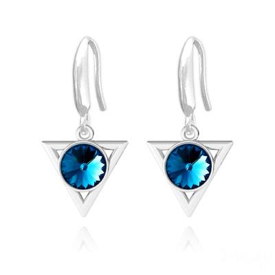 Boucles d'Oreilles en Cristal et Argent Boucles d'Oreilles Triangle Rivoli 8mm en Argent et Cristal Bleu Bermude