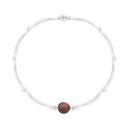 Bracelet Torsadé en Argent et Pierres Naturelles 6MM - Jaspe Rouge