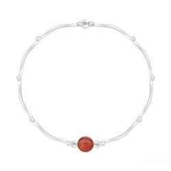 Bracelet Torsadé en Argent et Pierres Naturelles 6MM - Agate Rouge