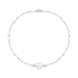 Bracelet Torsadé en Argent et Pierres Naturelles 6MM - Jade Blanc