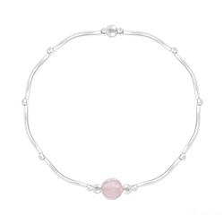 Bracelet Torsadé en Argent et Pierres Naturelles 6MM - Quartz Rose
