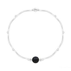 Bracelet Torsadé en Argent et Pierres Naturelles 6MM - Onyx