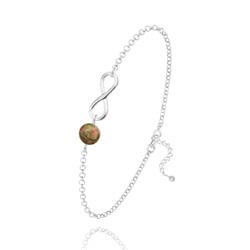 Bracelet Infini en Argent et Pierre Naturelle 6MM - Unakite