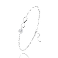Bracelet Infini en Argent et Pierre Naturelle 6MM - Cristal de Roche