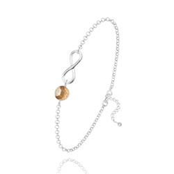 Bracelet Infini en Argent et Pierre Naturelle 6MM - Jaspe Paysage