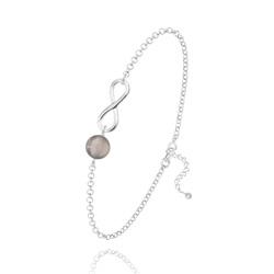 Bracelet Infini en Argent et Pierre Naturelle 6MM - Agate Grise