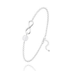 Bracelet Infini en Argent et Pierre Naturelle 6MM - Jade Blanc