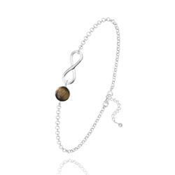 Bracelet Infini en Argent et Pierre Naturelle 6MM - Oeil de Tigre
