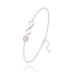 Bracelet Infini en Argent et Pierre Naturelle 6MM - Quartz Rose