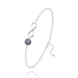 Bracelet Infini en Argent et Pierre Naturelle 6MM - Labradorite