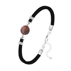 Bracelet Pierre Naturelle 10MM sur Suédine et Argent - Jaspe Rouge