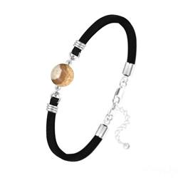 Bracelet Pierre Naturelle 10MM sur Suédine et Argent - Jaspe Paysage