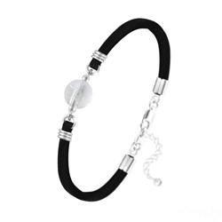 Bracelet Pierre Naturelle 10MM sur Suédine et Argent - Cristal de Roche