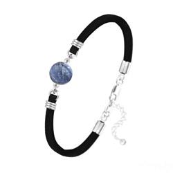 Bracelet Pierre Naturelle 10MM sur Suédine et Argent - Sodalite
