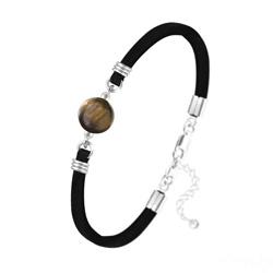 Bracelet Pierre Naturelle 10MM sur Suédine et Argent - Oeil de Tigre
