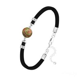 Bracelet Pierre Naturelle 10MM sur Suédine et Argent - Unakite