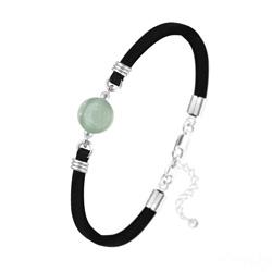 Bracelet Pierre Naturelle 10MM sur Suédine et Argent - Aventurine