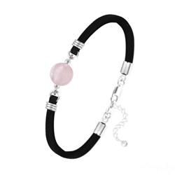 Bracelet Pierre Naturelle 10MM sur Suédine et Argent - Quartz Rose