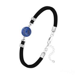 Bracelet Pierre Naturelle 10MM sur Suédine et Argent - Lapis Lazuli