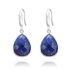 Boucles d'Oreilles Goutte 17mm à Facettes en Argent et Lapis Lazuli