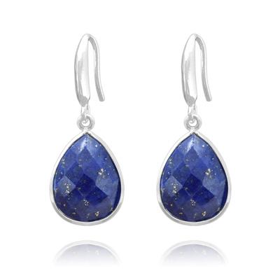 Boucles d'Oreilles en Pierre Naturelle Boucles d'Oreilles Goutte 17mm à Facettes en Argent et Lapis Lazuli