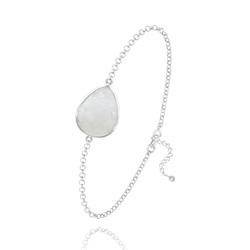 Bracelet en Pierre Naturelle Bracelet Goutte à Facettes 17MM en Argent et Pierres Naturelles - Jade Blanc